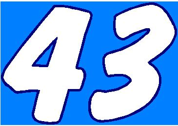 43 Race Number 2 Color Dawncastle Font Decal Sticker