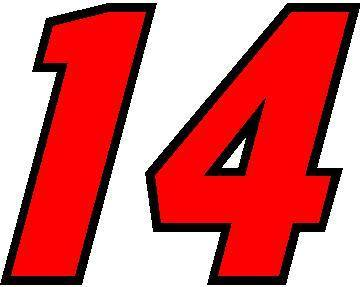 14 Race Number Motor Font 2 Color Decal Sticker