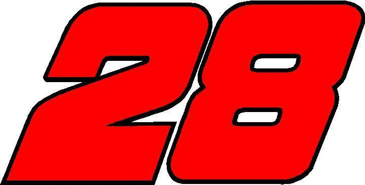 Racing Number Decals >> 28 RACE NUMBER 2 COLOR DECAL / STICKER