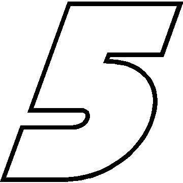 NASCAR Decals :: 5 Race Number Bahamas Heavy Font Decal ...