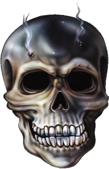 SKULL with BULLET HOLES DECAL / STICKER