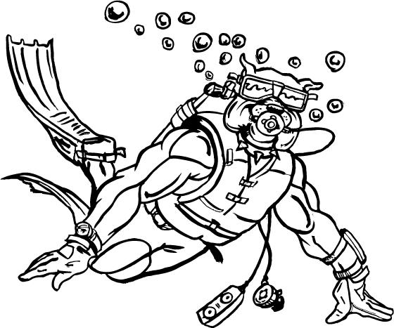Scuba Diver Coloring Page #4
