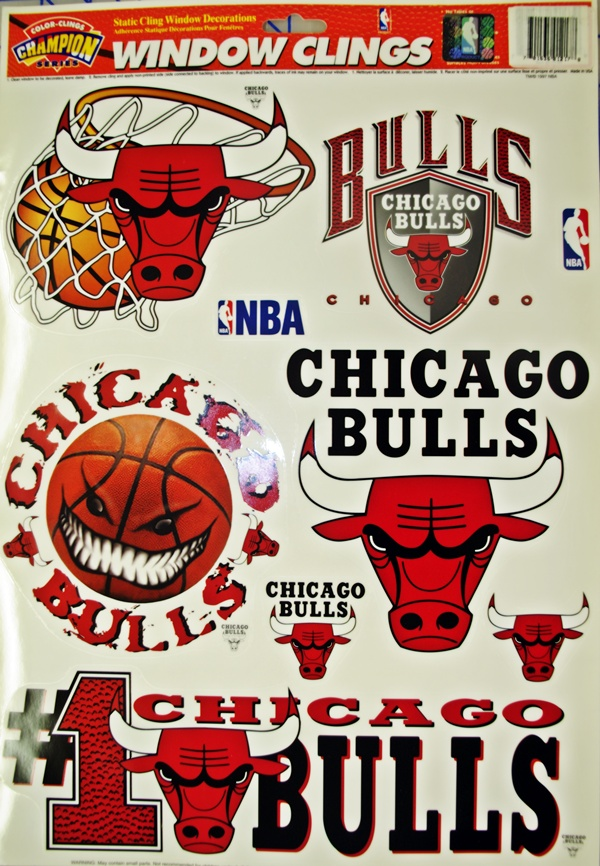 Chicago bulls window cling decals stickers this white rectangle is not part of the