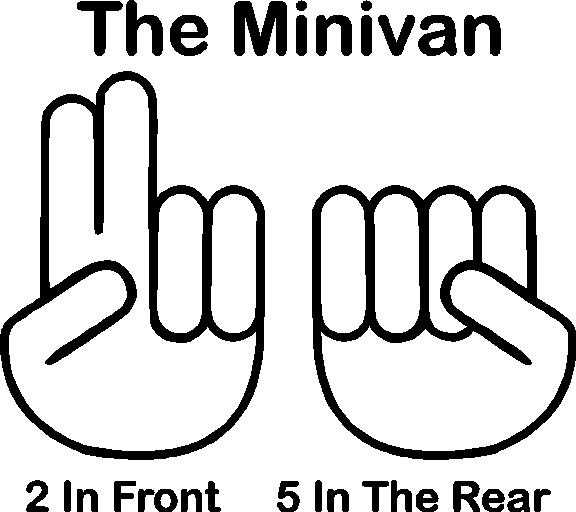 the minivan 2 in the front 5 in the rear decal    sticker