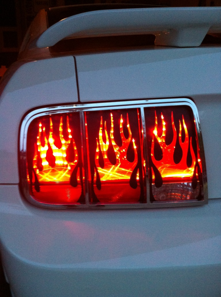 mustang flaming tail light covers 0509
