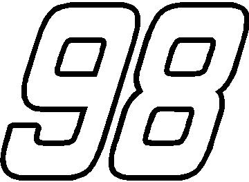 98 Race Number Outline Hemi Head Font Decal Sticker on hemi v8 engine