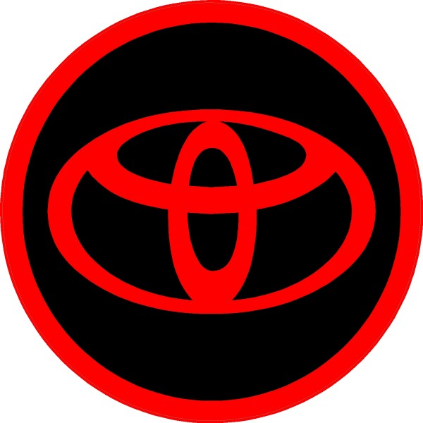 Circular toyota decal sticker red and black this white rectangle is not part of