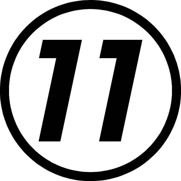 11 race number hemihead font decal sticker this white rectangle is not part of