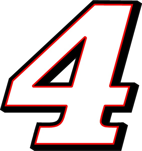 RACE NUMBER 4 DECAL / STICKER 3 COLOR A