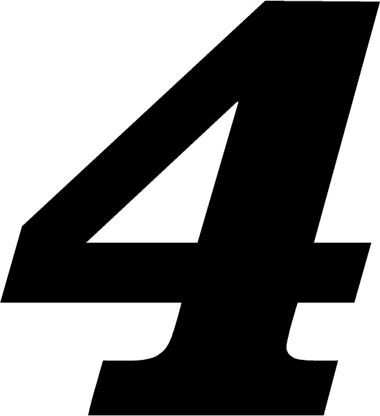 Race Number 4 Decal Sticker Solid