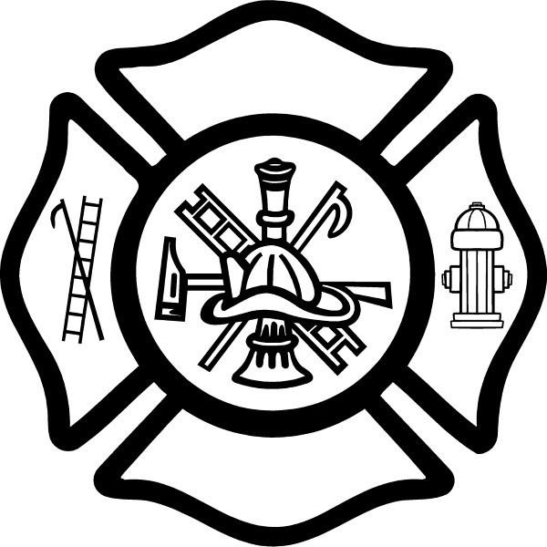 fireman maltese cross decal    sticker 03