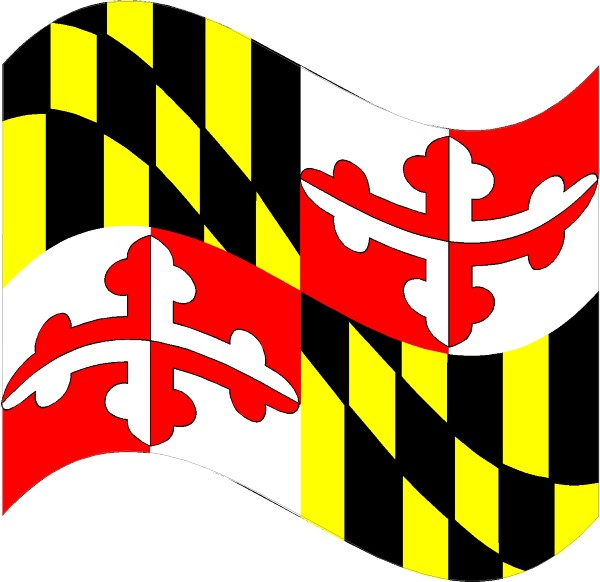 Maryland state flag waving decal sticker 03