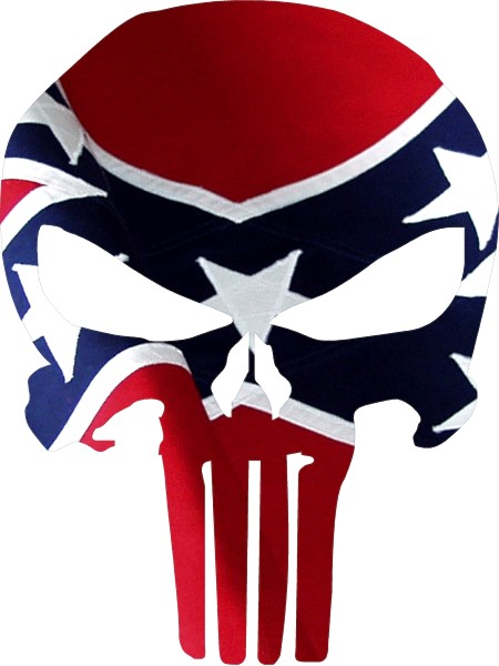 CONFEDERATE FLAG PUNISHER DECAL  STICKER - Rebel flag truck decals   online purchasing