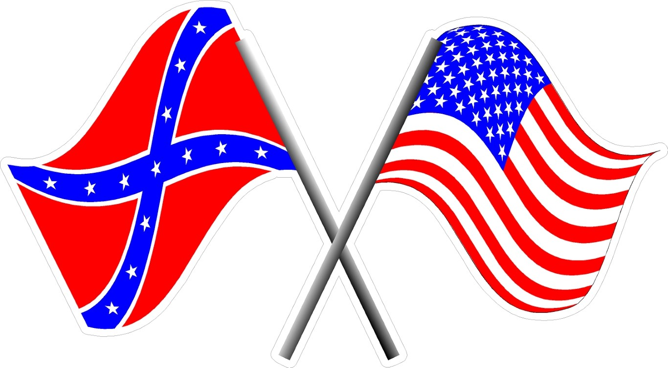 AMERICAN And CONFEDERATE FLAG DECAL  STICKER - Rebel flag truck decals   online purchasing