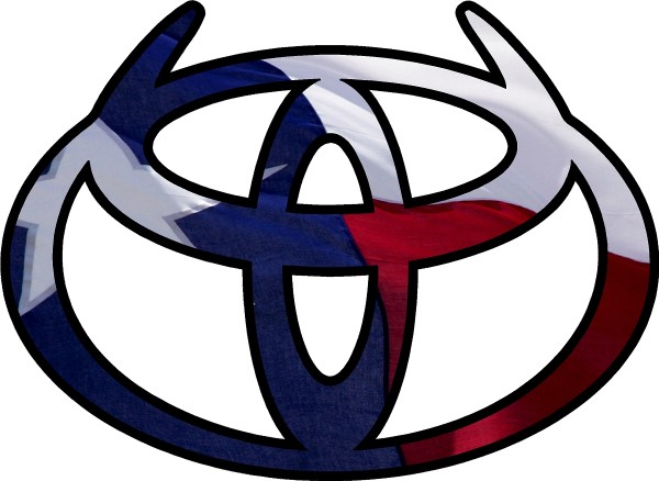 Texas flag toyota logo with horns decal sticker 02 this white rectangle is not