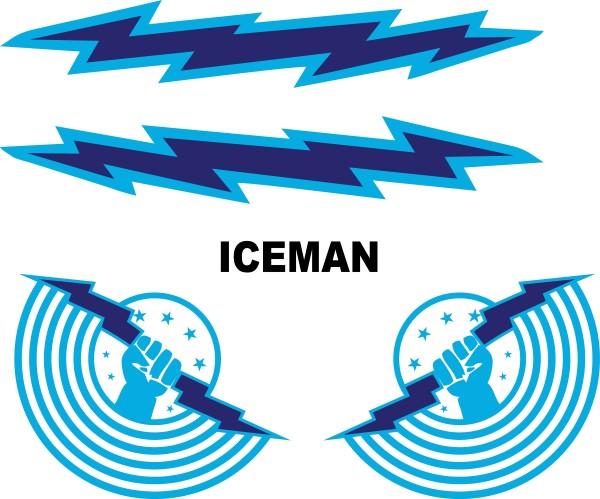 TOP GUN ICEMAN HELMET DECAL / STICKER SET 01
