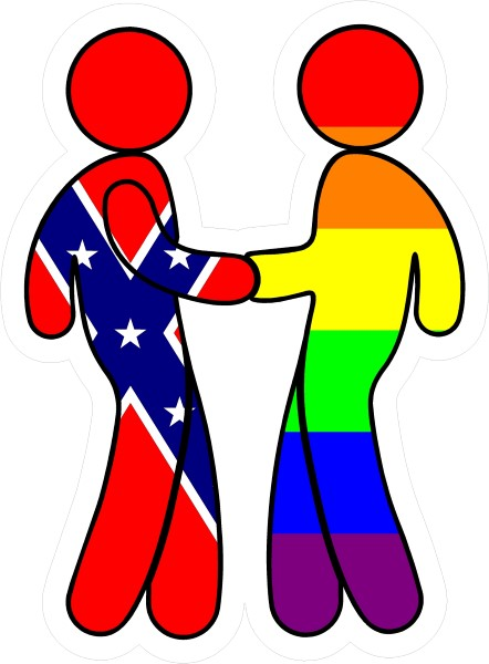CONFEDERATE FLAG And LGBT FLAG SHAKING HANDS DECAL  STICKER - Rebel flag truck decals   online purchasing