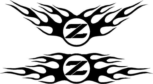 Nissan Decals :: Nissan Z Flames Decal / Sticker Angle Up