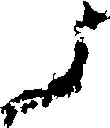 Miscellaneous Decals Japan Map Decal Sticker - Japan map black and white