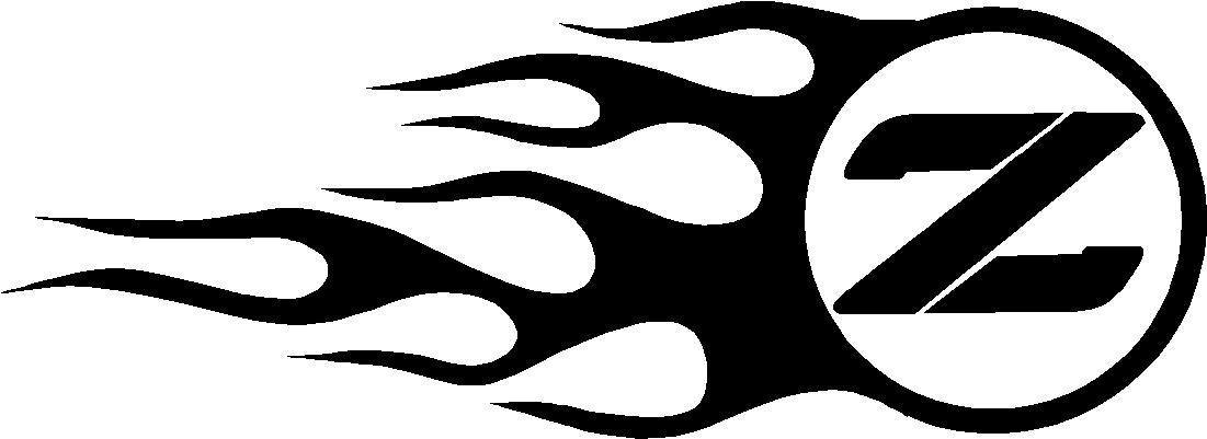 Nissan z flames decal sticker side design set of 2 this white