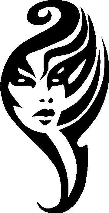 Womans face tribal decal sticker this white rectangle is not part of the decal