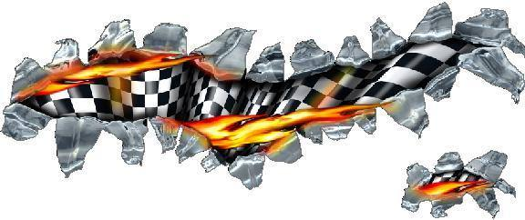 Flag Decals Flaming Checkered Flag Tear Decal Sticker