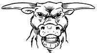 Bull Mascot Decal / Sticker 2