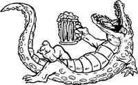 Beer Drinking Gators Mascot Decal / Sticker