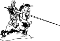 Jousting Knight Mascot Decal / Sticker
