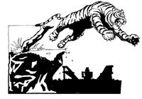 Jumping Tiger Mascot Decal / Sticker