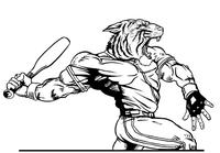 Baseball Tigers Mascot Decal / Sticker 4