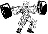 Weightlifting Bulldog Mascot Decal / Sticker 7