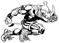 Rhinos Track and Field Mascot Decal / Sticker