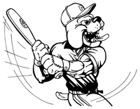 Baseball Bulldog Mascot Decal / Sticker 10 ^This white rectangle is NOT part of the decal^