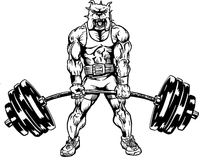 Weightlifting Bulldog Mascot Decal / Sticker
