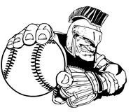 Trojans Baseball Mascot Decal / Sticker