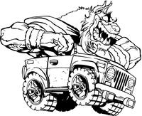 Bobcat in Truck Mascot Decal / Sticker