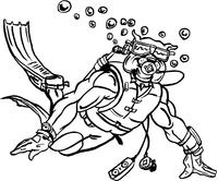 Scuba Diving Bulldog Mascot Decal / Sticker