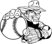 Baseball Cowboys Mascot Decal / Sticker