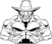 Weightlifting Cowboys Mascot Decal / Sticker
