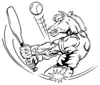 Baseball Horse Mascot Decal / Sticker 3