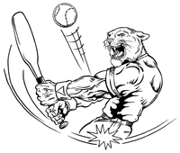 Baseball Cougars / Panthers Mascot Decal / Sticker 1