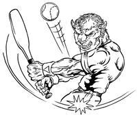 Baseball Buffalo Mascot Decal / Sticker ba4
