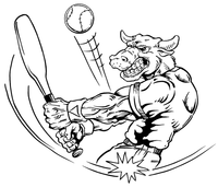 Baseball Bull Mascot Decal / Sticker 04