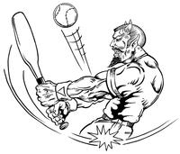 Baseball Devils Mascot Decal / Sticker 3
