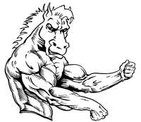 Weightlifting Horse Mascot Decal / Sticker 2