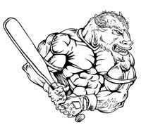 Baseball Buffalo Mascot Decal / Sticker ba5