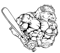 Baseball Buffalo Mascot Decal / Sticker ba5