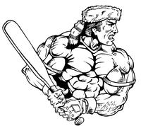 Baseball Frontiersman Mascot Decal / Sticker 4