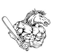 Baseball Horse Mascot Decal / Sticker 4